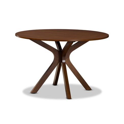 "48"" Kenji Wide Round Wood Dining Table Walnut - Baxton Studio - image 1 of 4"
