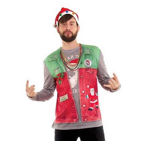 Christmas Vest.Men S Ugly Christmas Costume Vest Long Sleeve T Shirt Xx Large