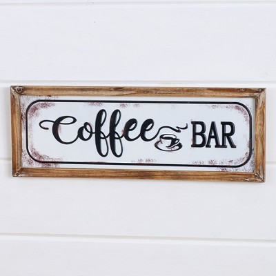 "Lakeside Enamel Look 22"" Wall Hanging Plaque with Coffee Bar Sentiment Text"
