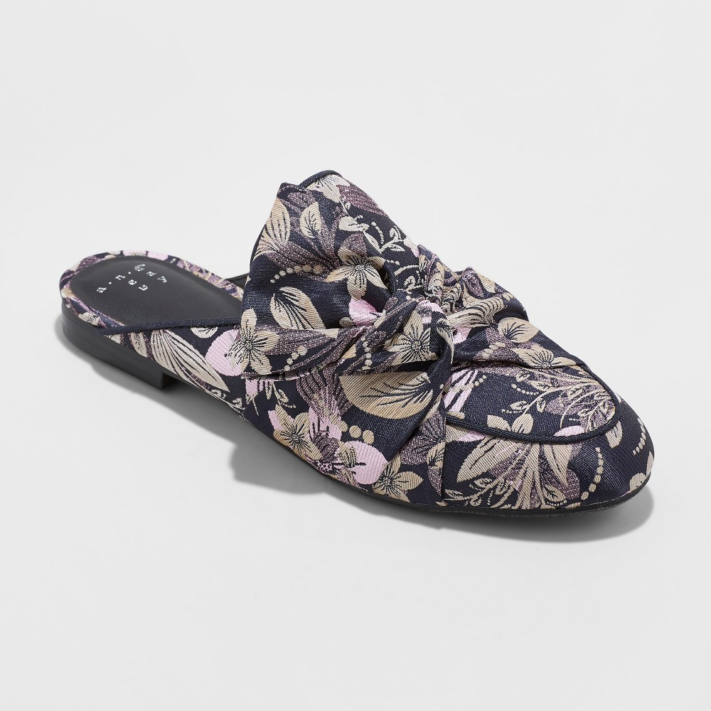 Women's Holland Jacquard Knotted Mules - A New Day Purple 7.5
