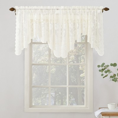 58 x32  Alison Floral Sheer Lace Window Valance Panel Ivory - No. 918