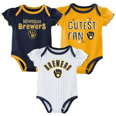MLB Milwaukee Brewers Baby Girls' 3pk Bodysuit Set - 3-6M