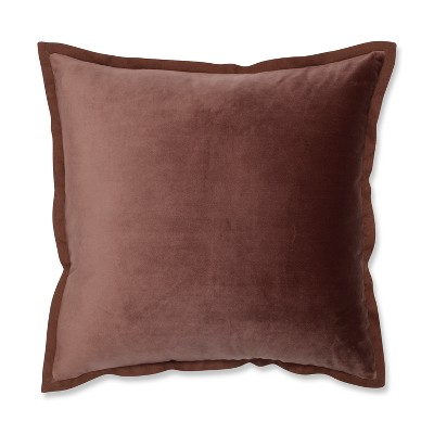 Pillow Perfect 18 x18  Velvet Flange Throw Pillow Brown