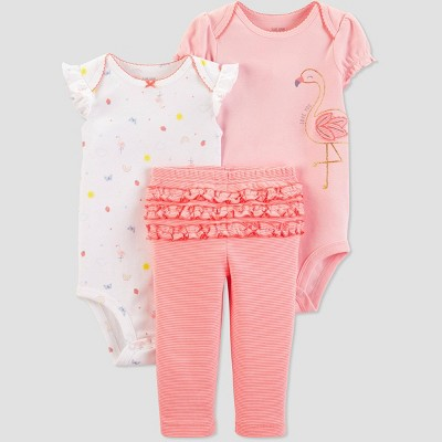 Baby Girls' 3pc Flamingo Top And Bottom Set - Just One You® made by carter's Peach/White Newborn