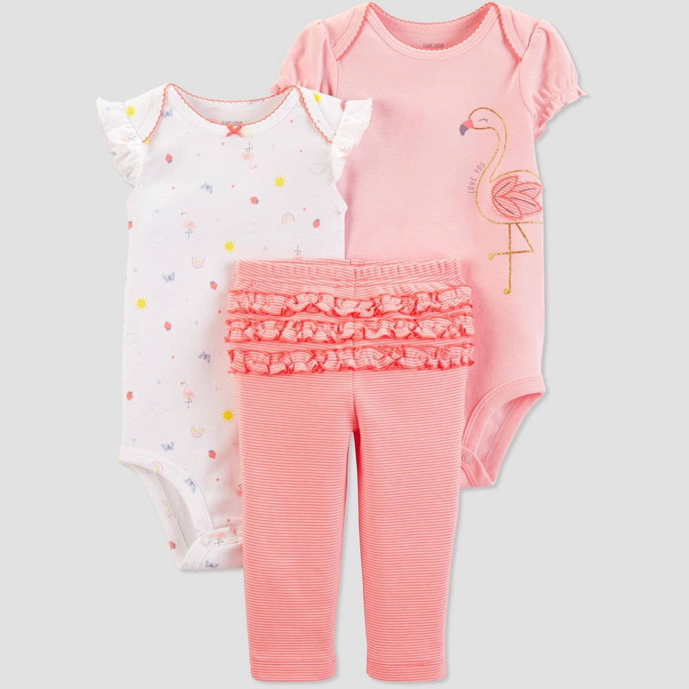 Baby Girls' 3pc Flamingo Top And Bottom Set - Just One You made by carter's Peach/White Newborn, Pink