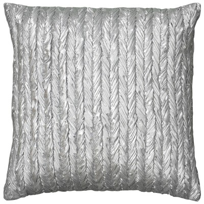 "18""x18"" Poly Filled Solid Striped Square Throw Pillow Silver - Rizzy Home"
