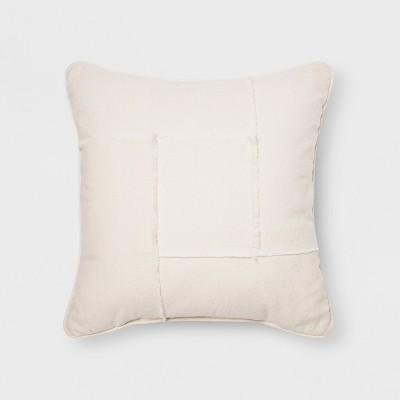 Pieced Raw Edge Square Throw Pillow Cream - Project 62™