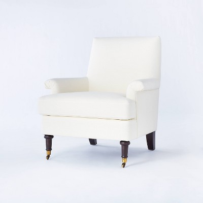 Mercer Rolled Upholstered Arm Chair with Casters Fully Assembled Cream - Threshold™ designed with Studio McGee