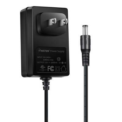 [UL Listed] - INSTEN 12V 2A 24W Max AC DC Power Supply Adapter with Type A US plug 5.5mm x 2.1mm Jack Charger for DC12V CCTV Camera, LED Strip