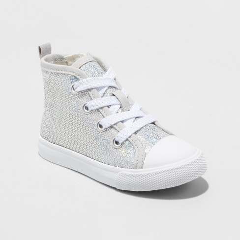 Toddler Girls' Henley High Top Sneakers - Cat & Jack™ Silver - image 1 of 3