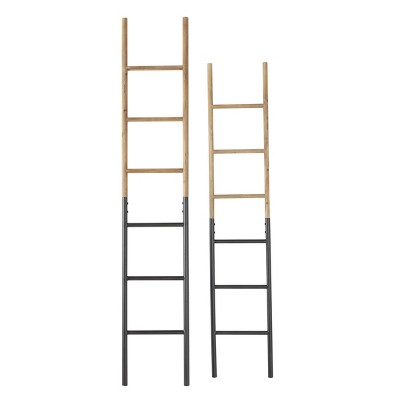 "Olivia & May 13""x71""x12""x61.5"" Set of 2 Wood and Metal Ladder Racks"