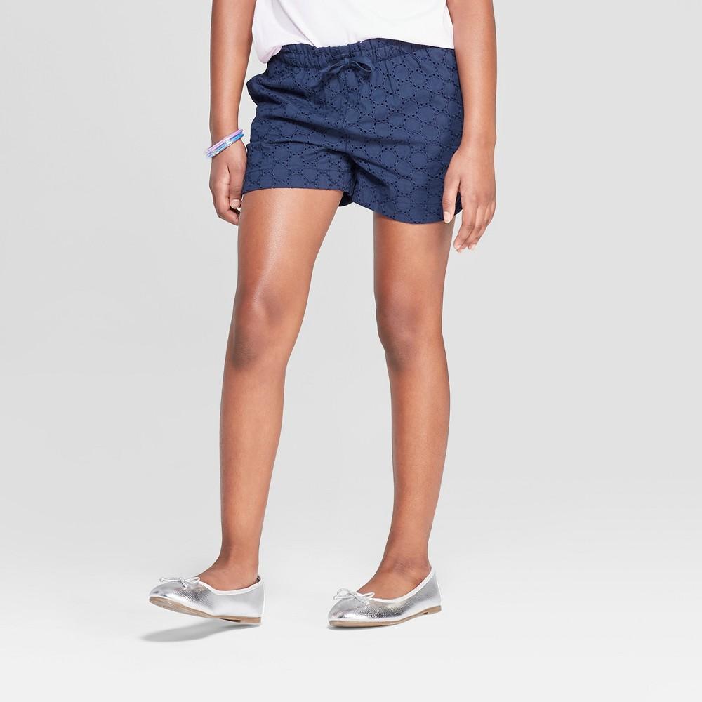Girls' Eyelet Shorts - Cat & Jack Navy (Blue) XS