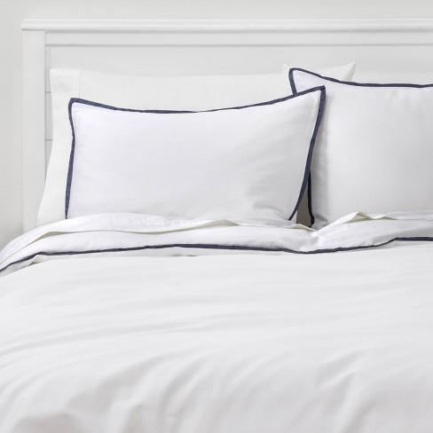 King Hotel Border Frame Comforter, White And Navy Hotel Bedding
