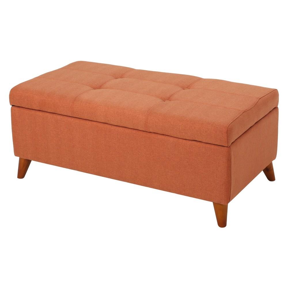 Harper Storage Ottoman - Orange - Christopher Knight Home