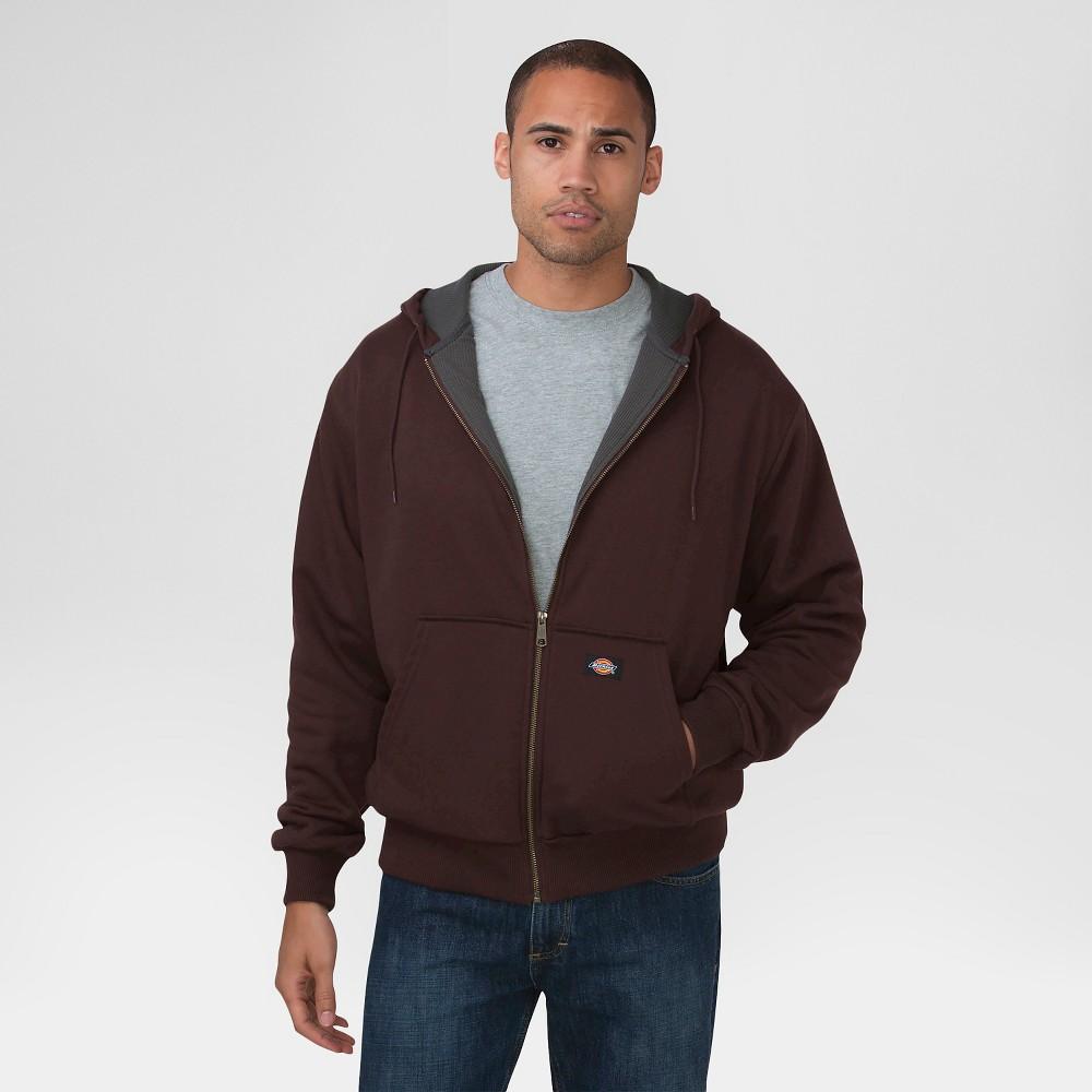 Dickies Men's Big & Tall Thermal Lined Fleece Hoodie- Dark Brown 5XL