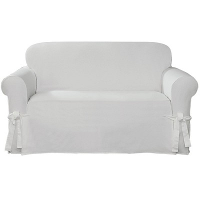 Cotton Canvas Relaxed Fit Slipcover Loveseat - Sure Fit