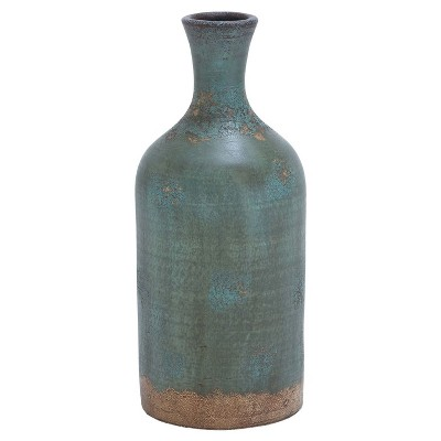 Rustic Blue Finish Terra Cotta Bottle Vase (18 )- Olivia & May