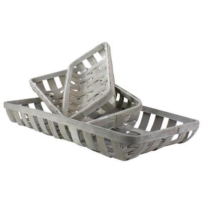 """Raz Imports Set of 3 White Washed Rectangular Woven Baskets 32.75"""""""