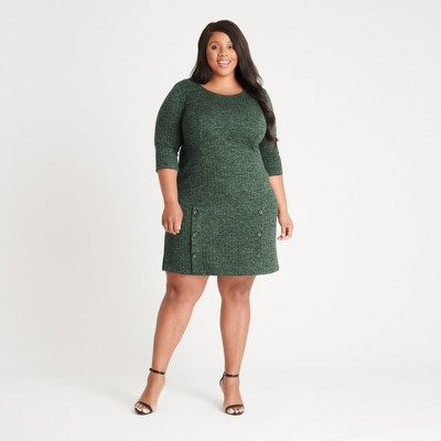 Women's Plus Three Quarter Sleeve Sweater Knit Dress - Connected Apparel
