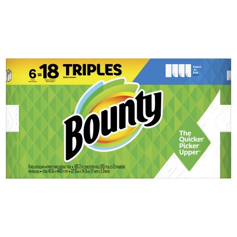 Bounty Paper Towels Select-A-Size White 6 Triple Rolls =18 Regular Rolls - image 1 of 4