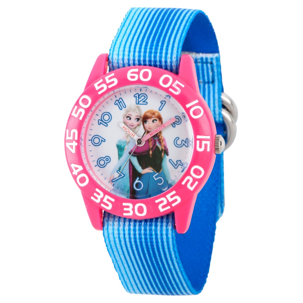Image of Girls' Disney Frozen Elsa and Anna Girls' Pink Plastic Time Teacher Watch - Blue