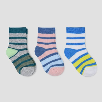 Baby Boys' 3pk Crew Striped Socks Cat & Jack™ 12-24M