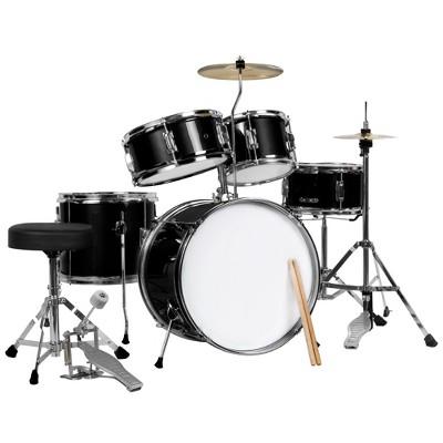 Best Choice Products 5-Piece Kids Beginner Junior Size Drum Set, Percussion Instrument Starter Kit w/ Stool - Black
