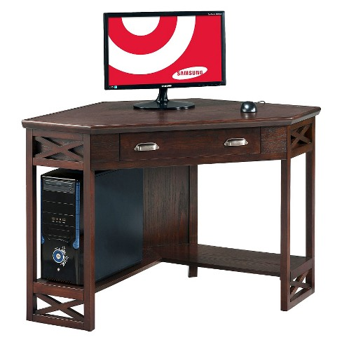 Corner Desk Chocolate Cherry - Leick Home - image 1 of 10