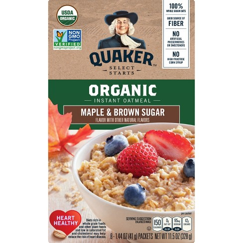 quaker organic instant oatmeal maple and brown sugar 8ct target