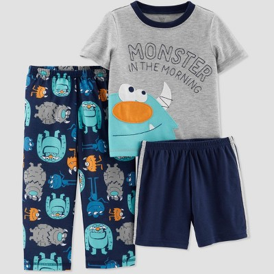 Baby Boys' 3pc Poly Monster Pajama Set - Just One You® made by carter's Navy/Gray 12M