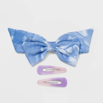 Tie-Dye Bow Snap Clips - Wild Fable™ Blue