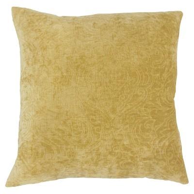 "18""x18"" Velvet Square Throw Pillow Yellow - The Pillow Collection"