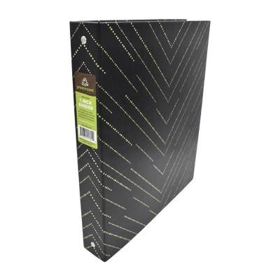 "220 Sheet 1"" Ring Binder Chevron Black/Gold - greenroom"