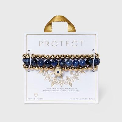 Beloved + Inspired Gold Granite with Evil Eye Charm Trio Stretch Beaded Bracelet Set - Blue