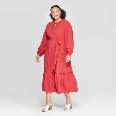 womens-plus-size-v-neck-full-sleeve-trim-maxi-dress---who-what-wear by neck-full-sleeve-trim-maxi-dress