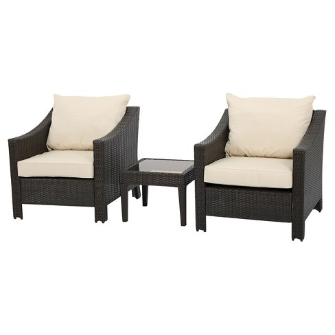 Antibes 3pc Wicker Chat Set with Cushions - Christopher Knight Home - image 1 of 4