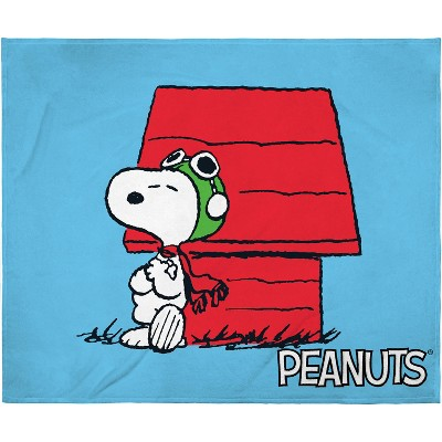 Peanuts Snoopy The Flying Ace Leaning On Red Doghouse Silk Touch Throw Blanket