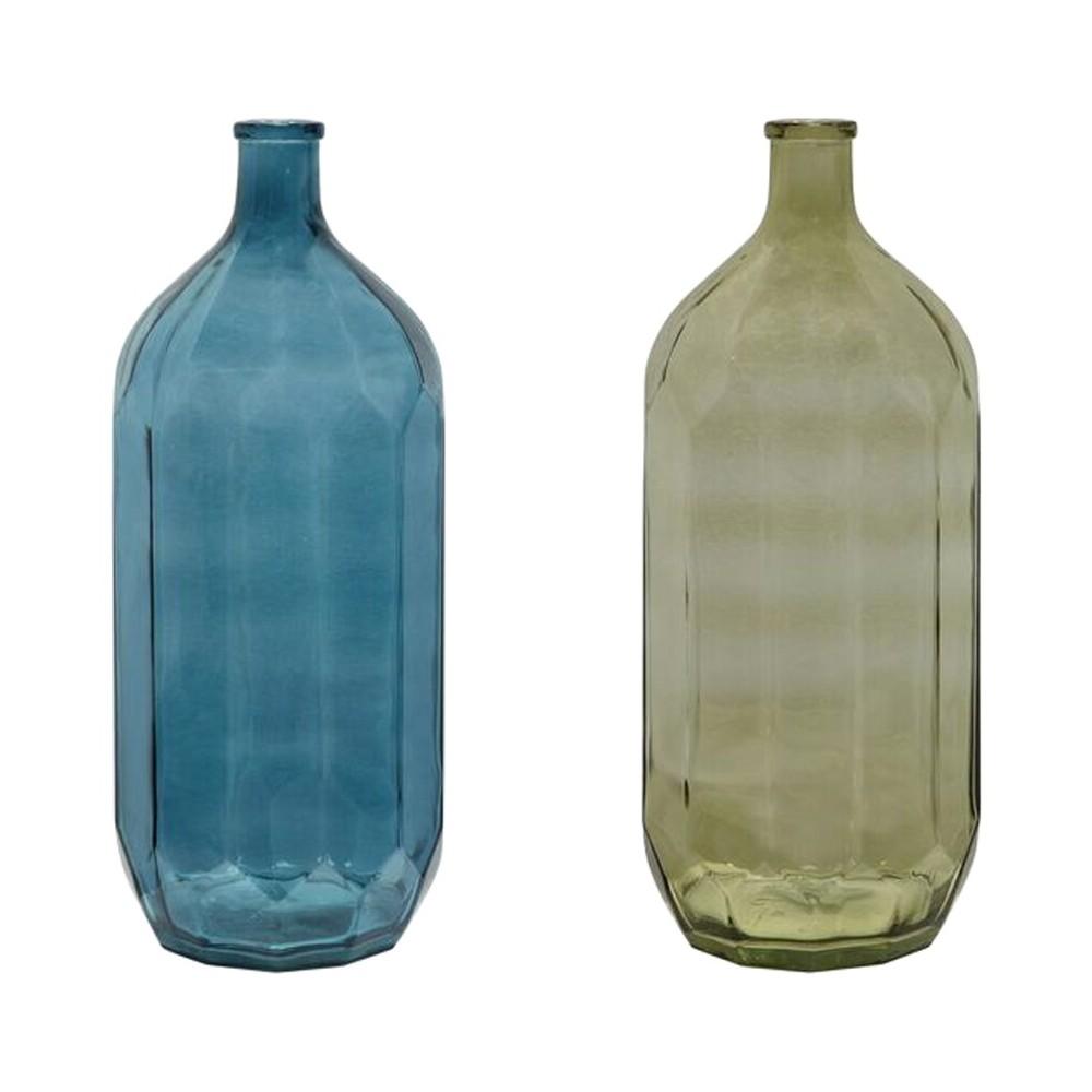 Glass Vintage Bottle - 2 Colors - 3R Studios, Blue