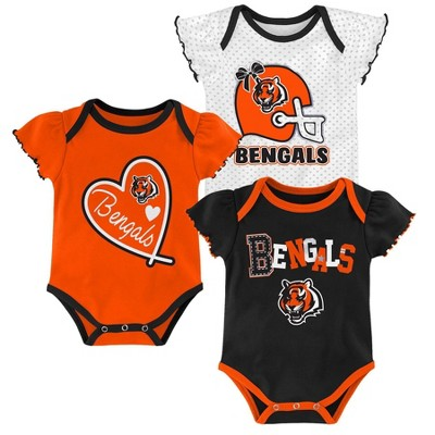 NFL Cincinnati Bengals Baby Girls' Newest Fan 3pk Bodysuit Set