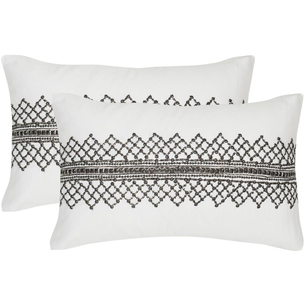 Set of 2 Gossamer Metals Lumbar Throw Pillow White/Gray - Safavieh