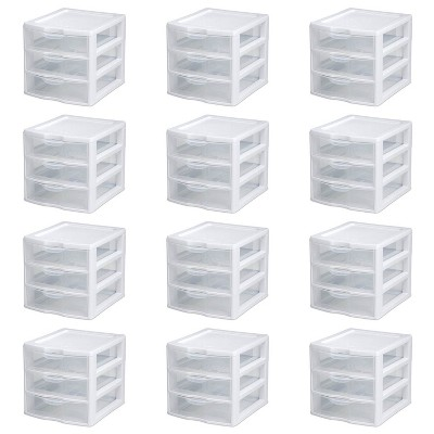 New Sterilite Small Compact Countertop 3 Drawer Desktop Storage Unit (12 Pack)
