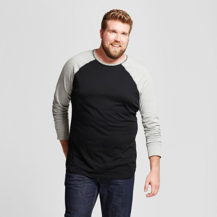 Men's Big & Tall Standard Fit Long Sleeve Baseball T-Shirt - Goodfellow & Co™ Gray 4XBT - image 1 of 3