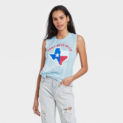 Women's Don't Mess with Texas Graphic Tank Top - Awake Air Blue