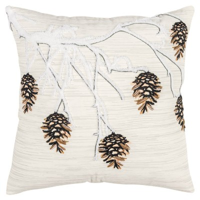 """20""""x20"""" Oversize Winter Branched Polyester Filled Square Throw Pillow Natural - Rizzy Home"""