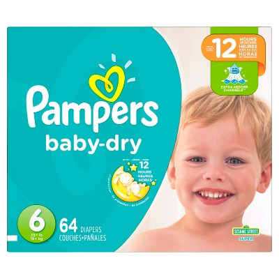 Pampers Baby Dry Diapers, Super Pack - Size 6 (64 ct)