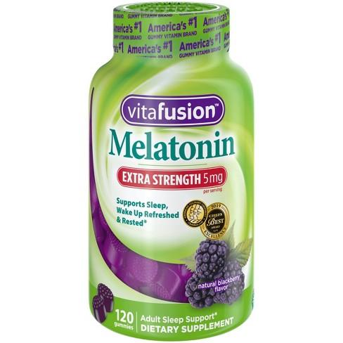 Vitafusion Extra Strength Melatonin Gummies - Blackberry - 120ct - image 1 of 4