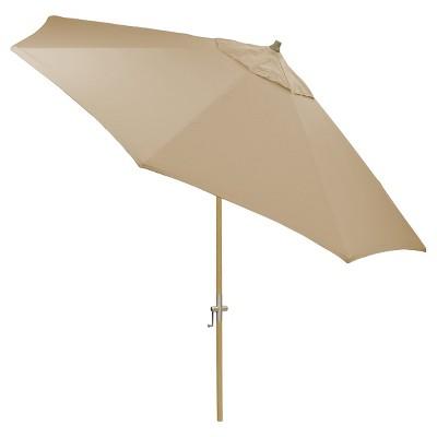 8.9' x 8.9' Round Sunbrella® Umbrella - Canvas Heather Beige - Light Wood Finish - Smith & Hawken™