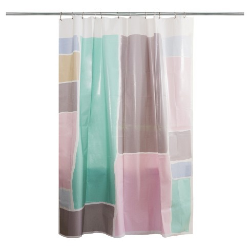 Colorblock Shower Curtain Pink