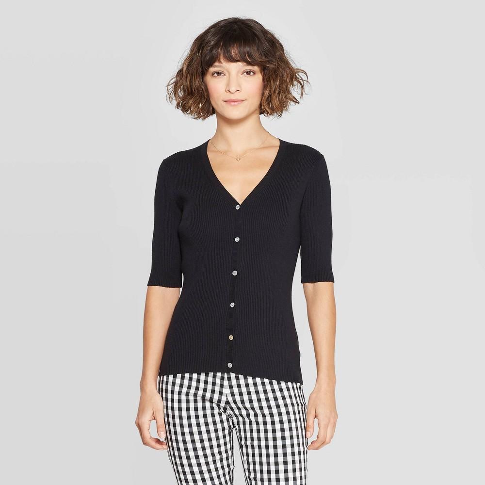Women's Regular Fit Basic Sleeve V-Neck Cardigan - A New Day Black L