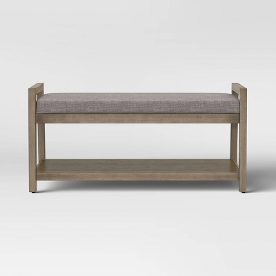 Badin Wood Bench with Shelf Gray - Threshold™